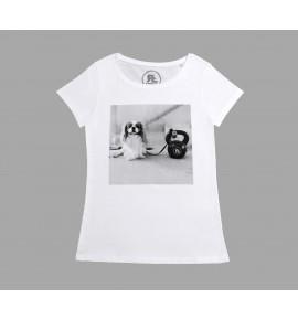 Bílé tričko Dog and Kettlebell 13-RF