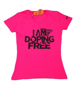Women's pink t-shirt I am doping free 002- IMTWR