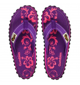 Flip-Flops Gumbies from recycled tires Gu089 - Purple Hibiscus