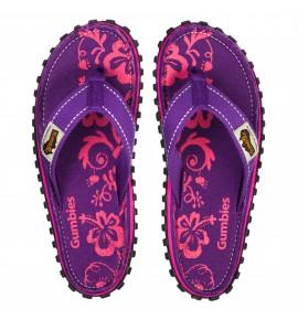 Infradito da pneumatici reciclati Gu089 - Purple Hibiscus