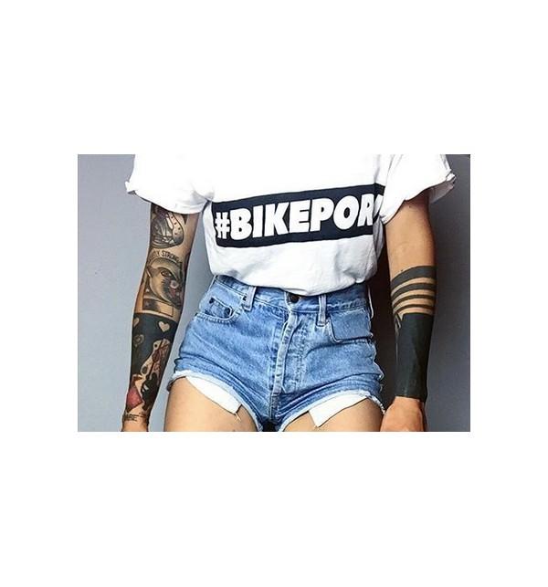 Bílé tričko cyklistika Bikeporn