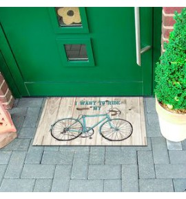 Entrance carpet with bicycle motif