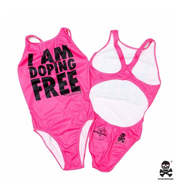 Women's pink swimming costume I am doping free 005-IMCWR