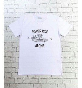 Bílé tričko cyklistika Never Ride Alone