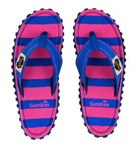 Flip-Flops Gumbies from recycled tires - Gu05 - Pink Blue Stripe