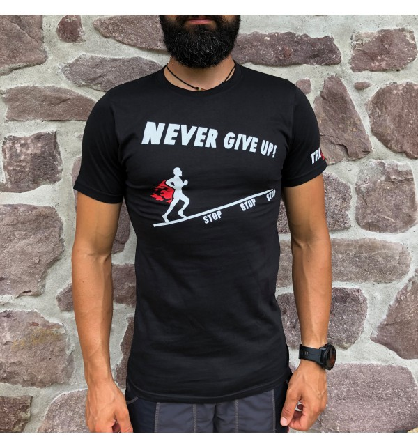 Men's black t-shirt Never Give Up 009-TFTMN