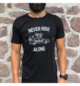 Maglietta ciclismo nera Never Ride Alone