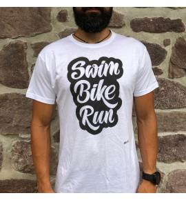 Maglietta triathlon bianca Swim Bike Run