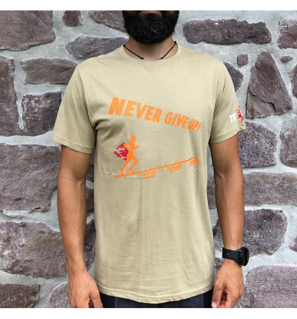 Men's beige t-shirt Never Give Up