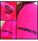 Women's pink t-shirt I am doping free 002- IMTWR