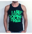 Men's black singlet I am doping free 003-IMCMN