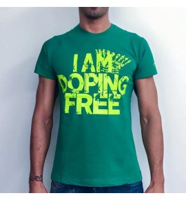 Men's  green t-shirt I am doping free 001- IMTMV
