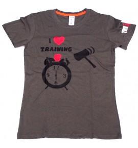 Maglietta femminile grigia I Love Training 006-TFTFG