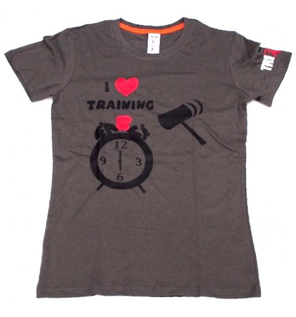 Dámské šedé tričko I Love Training  006-TFTFG