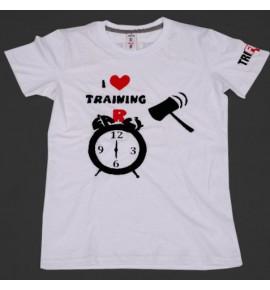 Women's white t-shirt I Love Training  004-TFTFB