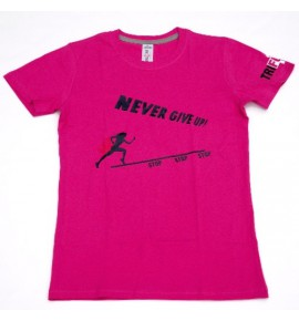 Women's pink t-shirt Never Give Up 002-TFTFR