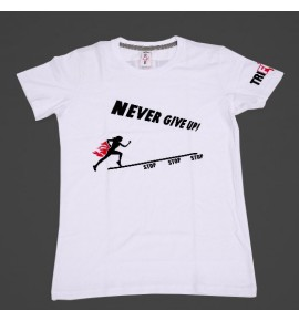 Women's white t-shirt Never Give Up 001 TFTFB